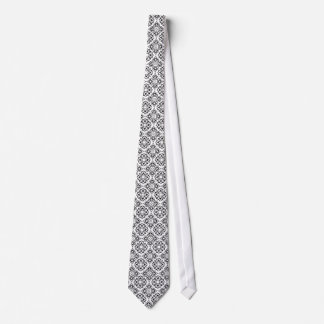 Black and White Heart Damask Tie