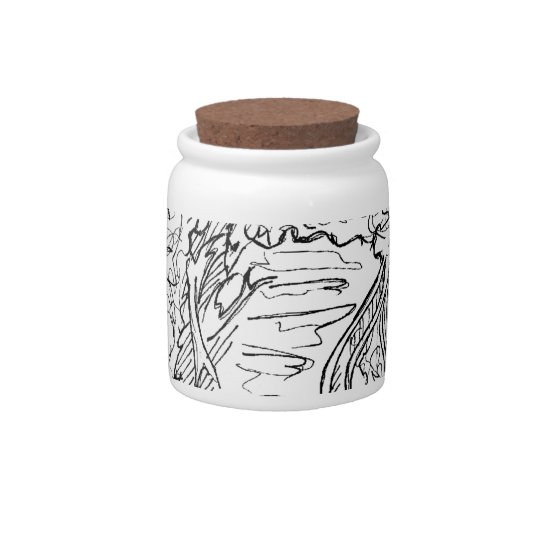 Black and white heart drawing candy jar