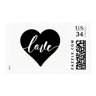 custompaperworks Black and White Heart Love Calligraphy Stamp