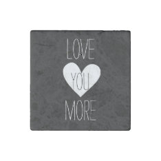 Black And White Heart Love You Stone Magnet at Zazzle