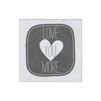 Black and White Heart Love you Stone Magnet