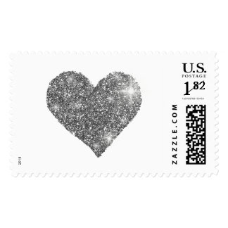 black and white heart of love postage