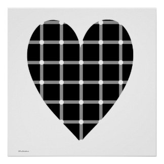 Black and White Heart Optical Illusion Poster