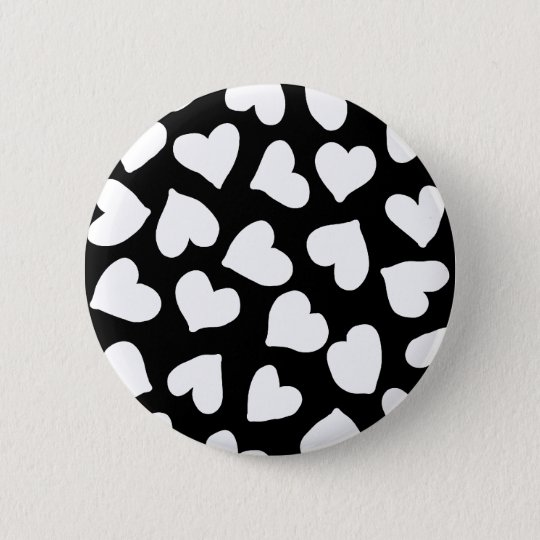 Black and White Heart Pattern Button
