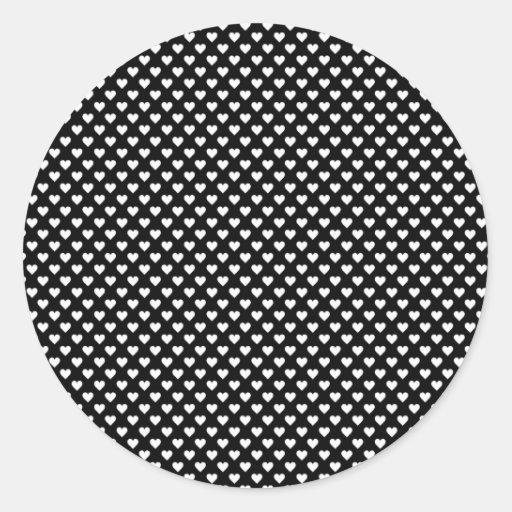 Black and White Heart PAttern. Classic Round Sticker