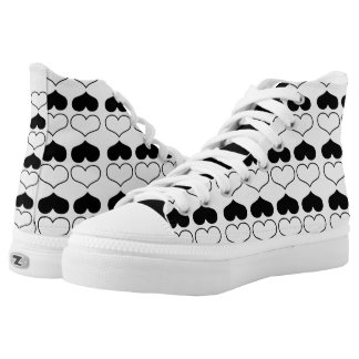 Black and White Heart Pattern High-Top Sneakers