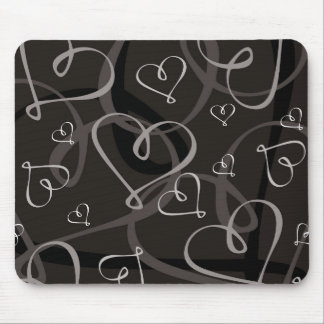 Black and white heart pattern mouse pad