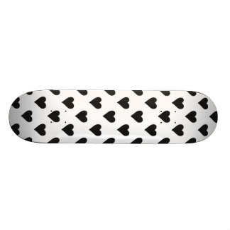 Black And White Heart Pattern Skateboard Deck