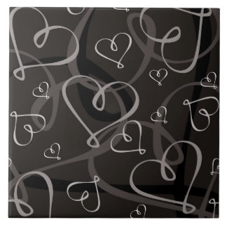 Black and white heart pattern tile