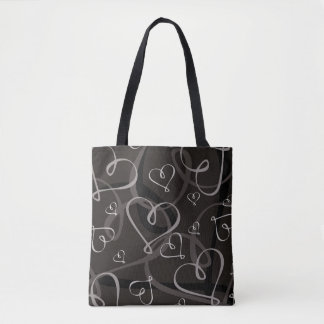 Black and white heart pattern tote bag