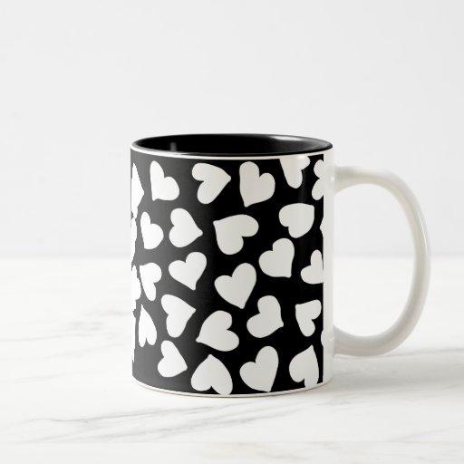 Black and White Heart Pattern Two-Tone Coffee Mug