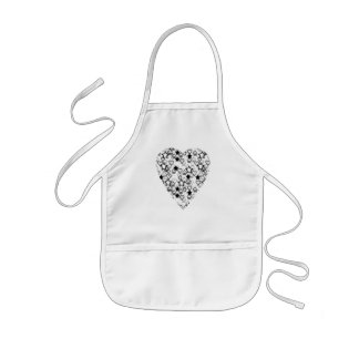 Black and White Heart. Patterned Heart Design. Apron