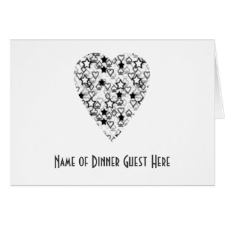 Black and White Heart Patterned Heart Design Card