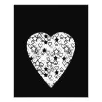 Black and White Heart. Patterned Heart Design. Flyer