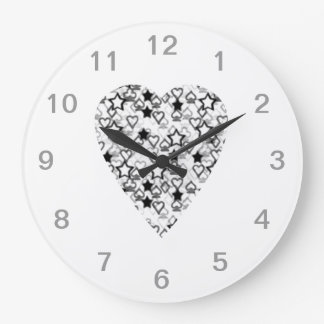 Black and White Heart. Patterned Heart Design. Large Clock