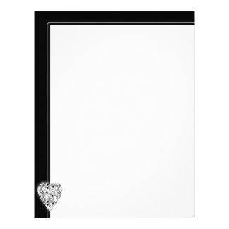 Black and White Heart. Patterned Heart Design. Letterhead