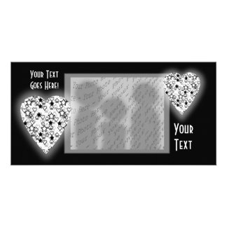 Black and White Heart. Patterned Heart Design. Photo Card