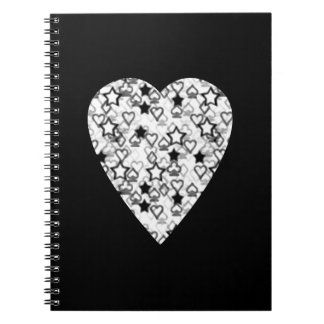 Black and White Heart. Patterned Heart Design. Spiral Note Book