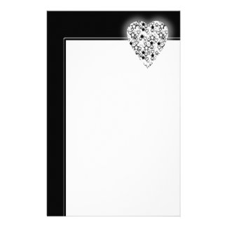 Black and White Heart. Patterned Heart Design. Customized Stationery
