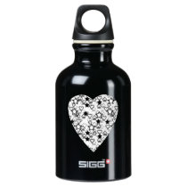 Black and White Heart. Patterned Heart Design. Water Bottle