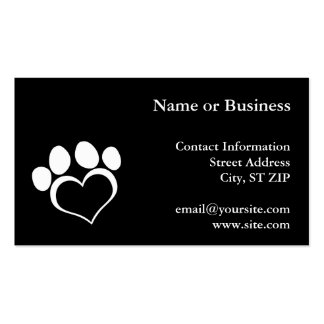 Black and White Heart Paw Double-Sided Standard Business Cards (Pack Of 100)