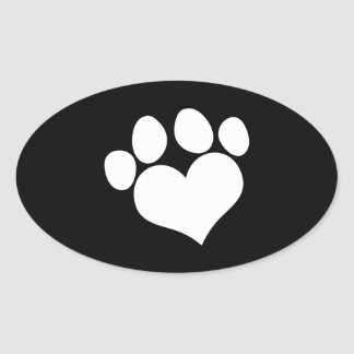 Black and White Heart Paw Print Oval Sticker