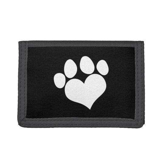 Black and White Heart Paw Print Tri-fold Wallet