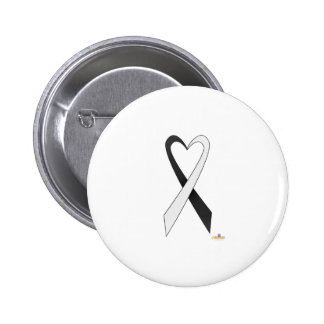 Black And White Heart Shaped Awareness Ribbon Button
