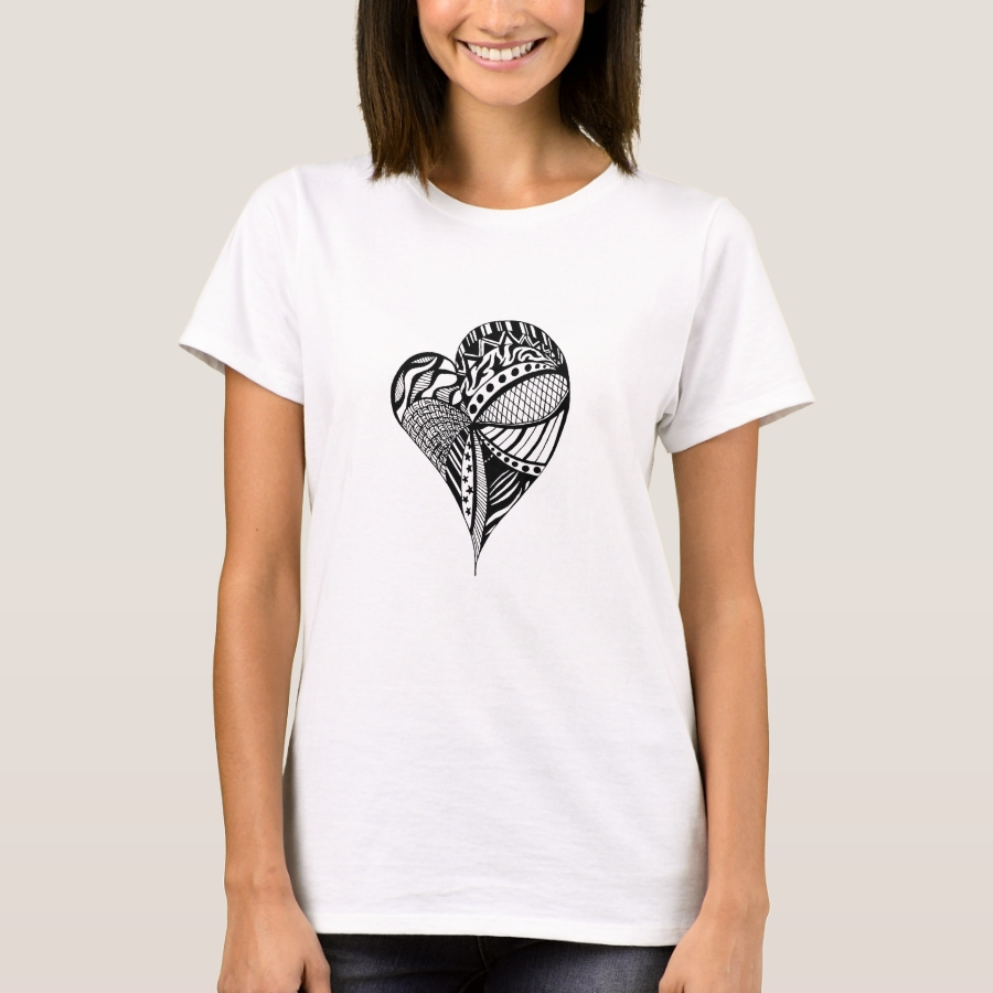 Black and White Heart Sketch | Heart Pattern | T-Shirt - Casual Long-Sleeve Street Fashion Shirts