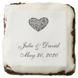 Black and White Heart Wedding Brownie