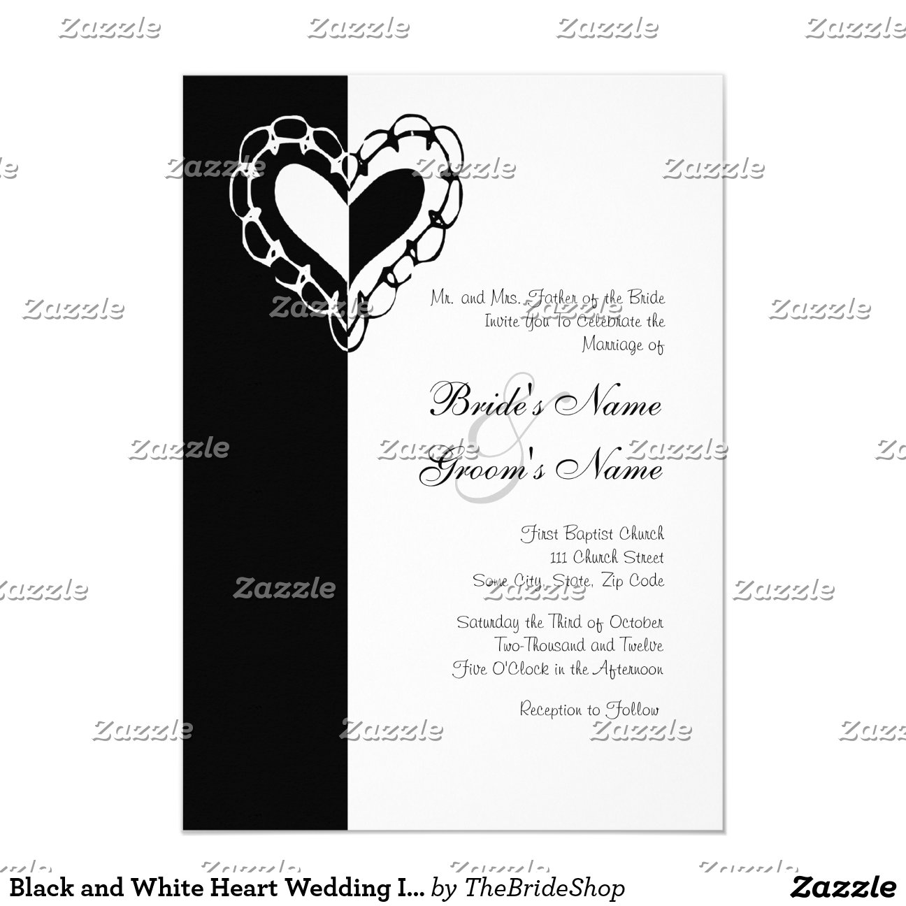 black and white wedding invitations black and white heart wedding invitation 1826