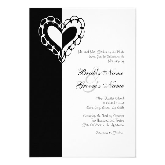 Black and White Heart Wedding Invitation