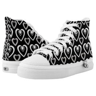 Black and White Heartbeat Hi Tops