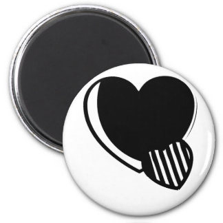 Black and White Hearts 2 Inch Round Magnet