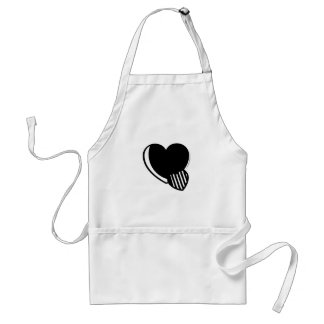 Black and White Hearts Adult Apron