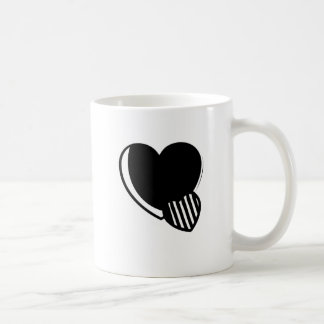 Black and White Hearts Classic White Coffee Mug