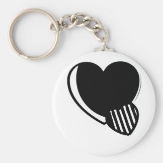Black and White Hearts Keychain
