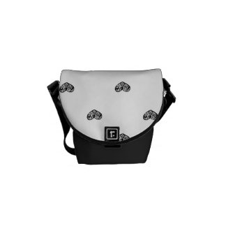 Black and White Hearts Messenger Bag