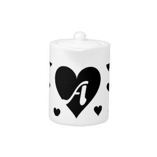 Black and White Hearts Monogram