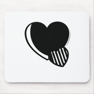 Black and White Hearts Mouse Pad