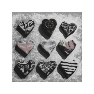 Black and White Hearts on Canvas Wall Art