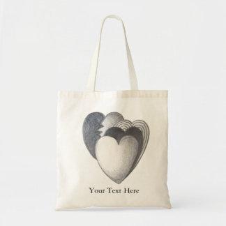 Black and white hearts original art illustration budget tote bag