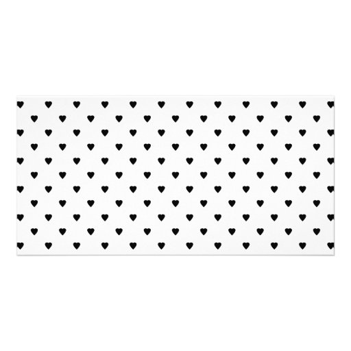 Black and White Hearts Pattern. Custom Photo Card