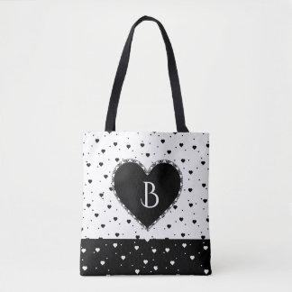 Black And White Hearts Pattern Monogram Tote Bag