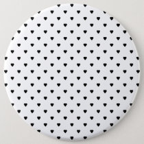 Black and White Hearts Pattern. Pinback Button