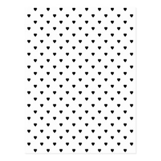 Black and White Hearts Pattern Post Card