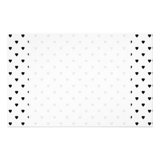 Black and White Hearts Pattern. Stationery