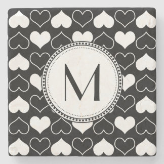 Black and White Hearts Pattern Stone Coaster