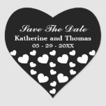 Black and White Hearts Save The Date Stickers