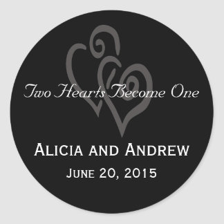 Black and White Hearts Wedding Favour Stickers